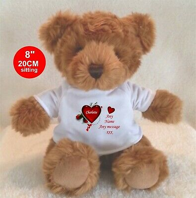 """Personalised Teddy Bear Beige 11""""/28Cm Big Sister, Brother, Cousin Ect."""