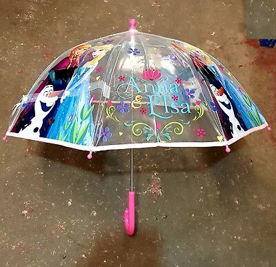 Official Disney Frozen Anna Elsa Umbrella Kids School Bubble Brolly Transparent