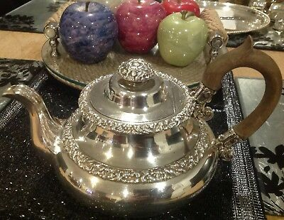 Antique Silver Plated Teapot Pours Beautifully