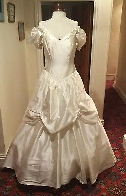 VINTAGE 1980's IVORY WEDDING DRESS WITH TRAIN - DANTE BY RONALD JOYCE