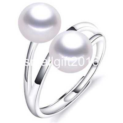 8-9mm white freshwater Cultured pearlsSolid S925 Sterling Silver Rings