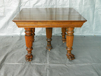 42 inch Square Oak Dining Table~~4 Leaves~~Extends to 74.5 Inches  circa 1900