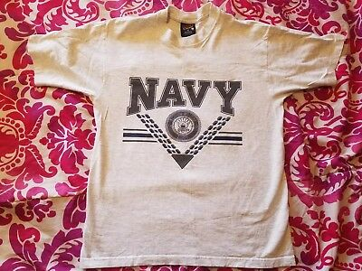 Vtg 80s US Navy Shirt Military 2-Sided Graphic Tee Reflective 3M Mens M MINT