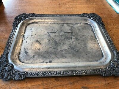 "antique ""OLD COON HOLLOW WHISKEY"" silver serving tray (pre prohibition)"