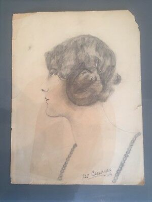"""ORIGINAL Charcoal Drawing 2 Female 1924Signed  8X12"""""""