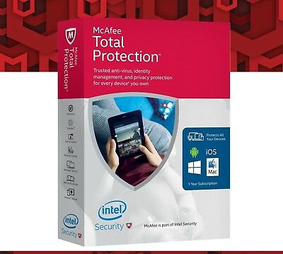McAfee Total Protection 2019 1 PC /windows /mac/mobile for 1 year