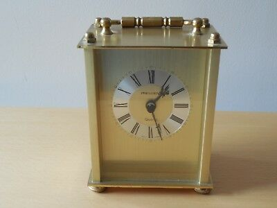 Vtg, President, Brushed Brass Cased Carriage Clock, Quartz Movement, West-German