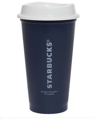 STARBUCKS Reusable Recyclable Grande 16 OZ Plastic Coffee Tea Cup Mug New Blue