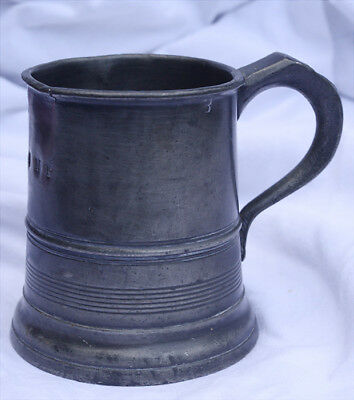 Victorian half pint pewter tankard - Sussex & Gloucester