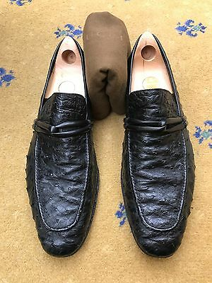 41437df64a1 Gucci Men s Shoes Black Ostrich Leather Loafers UK 10.5 US 11.5 EU 44.5