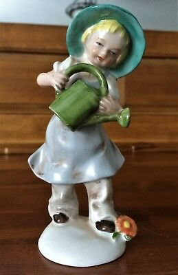 Vintage Lippelsdorf GDR Hand Painted German Boy with Watering Can Figurine