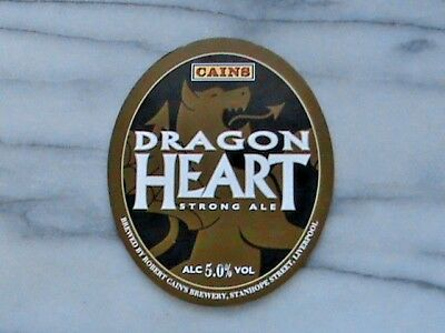 Cains Dragon Heart real ale beer pump clip sign