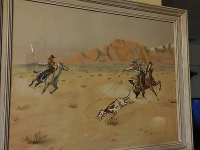 Pastel & Charcoal Drawing of Two Cowboys Lassoing a Cow Signed J T Lawce 1965