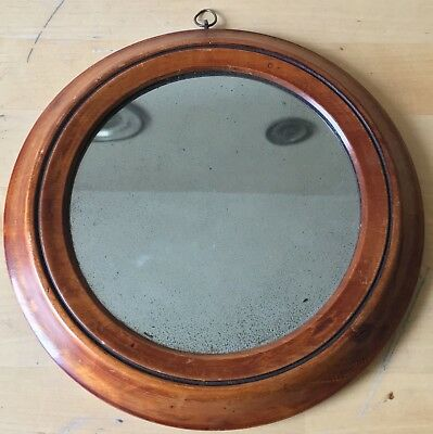 "c1820s small 7"" ANTIQUE GEORGIAN early VICTORIAN wooden OAK MIRROR"