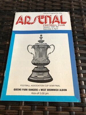 Queens Park Rangers V West Brom Albion FA Cup Semi Final 3rd Apr 1982