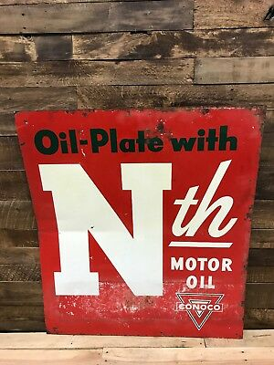 Conoco Nth Motor Oil, Gas Oil, Vintage, Collectable, Tin Painted Sign