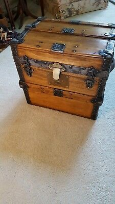 Antique Restored Metal, Wood Trunk With Leather Handles And Tray