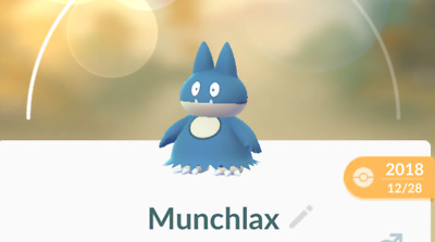 Munchlax Trade POKEMON GO Rare Baby , Male , Normal Type