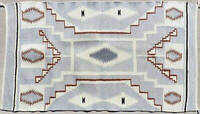 "Vintage 25"" x 45"" Navajo Storm Pattern Wool Rug Diamond Eye Dazzler"
