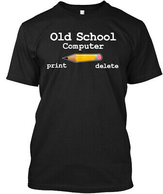 Old School Computer Pencil - Print Delete Hanes Tagless Tee T-Shirt