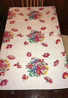 AWESOME Vintage 1950s Printed Cotton Tablecloth FLORAL Iris Daisy Flowers 48x52
