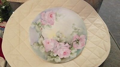 Pink & Green Flowered Limoges Plate