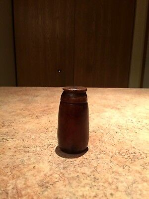 Vintage Thai Wood Lime Container Artifact
