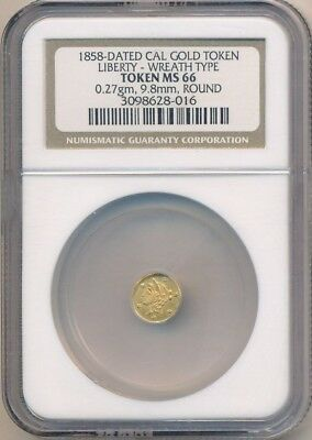 1858 Dated California Gold Token-Liberty Wreath Type-Ngc Ms66-Round-Ships Free!