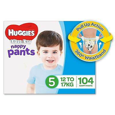 Huggies Ultra Dry Nappy Pants Boys Size 5 Walker 12-17kg 104 Count