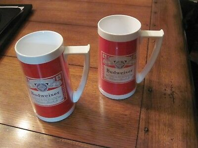Budweiser Vintage Thermo-Serv Plastic Beer Mug Made in USA 1970's Westbend (TWO)