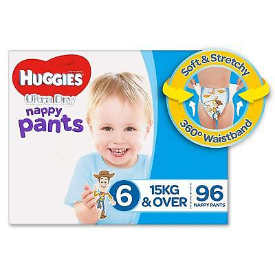 Huggies Ultra Dry Nappy Pants Boys Size 6 Junior 15kg+ 96 Count