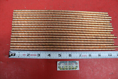 """17 Pieces 1/4"""" C110 COPPER ROUND ROD 10"""" to 11"""" long H04 Solid Lathe Bar Stock"""
