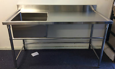 Brand New Commercial Stainless Steel Single Sink 1500x700x900x100 mm