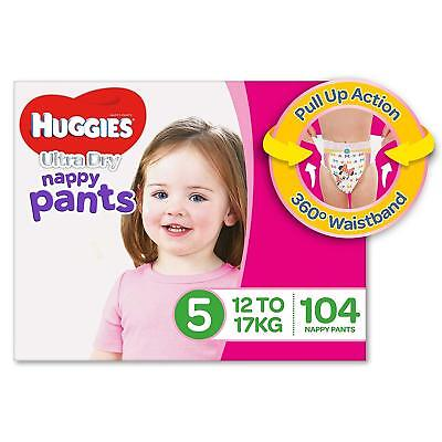 Huggies Ultra Dry Nappy Pants Girls Size 5 Walker 12-17kg 104 Count
