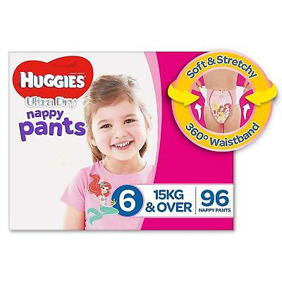 Huggies Ultra Dry Nappy Pants Girls Size 6 Junior 15kg+ 96 Count