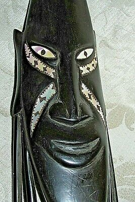Vintage WOOD SMILING MASK Genuine Mother of Pearl Shell Eyes Pacific PNG  24CmL