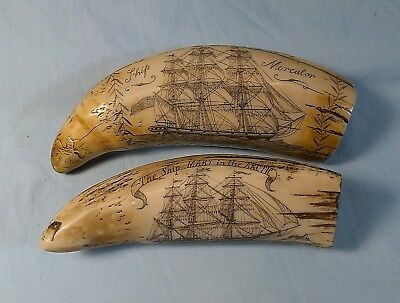 Scrimshaw Faux Resin Carved Sperm Whale Teeth MERCATOR/NUDE & MARY Bering Strait