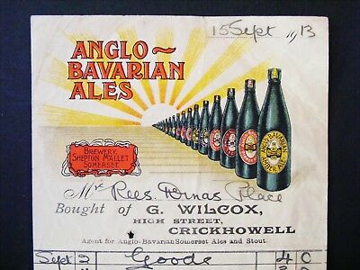 Illustrated Advertising Billhead / Invoice - ANGLO-BAVARIAN ALES / BEER - 1913