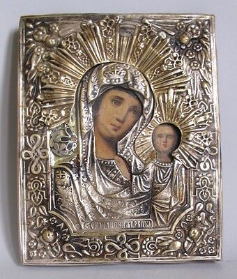 19th C. RUSSIAN GILT ORTHODOX Icon w/ Gold Gilt of MARY & CHRIST  c. 1860