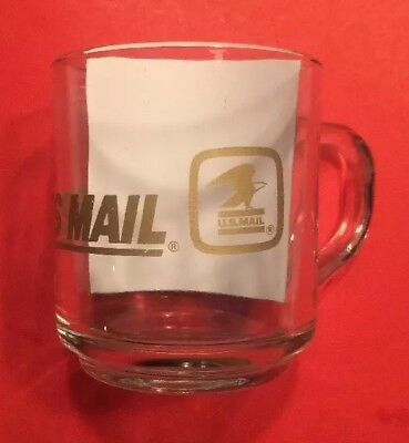 EXPRESS MAIL United States Post Office Glass Coffee Cup Mug Vtg Overnight USPS