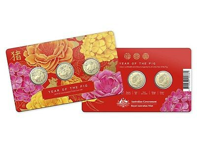2019 $1 Chinese Lunar Year of the Pig Uncirculated 3-Coin Set