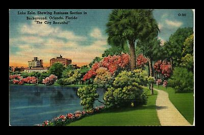 Dr Jim Stamps Us Lake Eola Park Orlando Florida Linen View Postcard