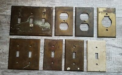 Vtg Antique Brass Electric Outlet Switch Covers Plates Arch Salvage Lot of 8