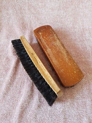 2 Vintage wooden clothes brushes. Black pure bristle. Made in England.