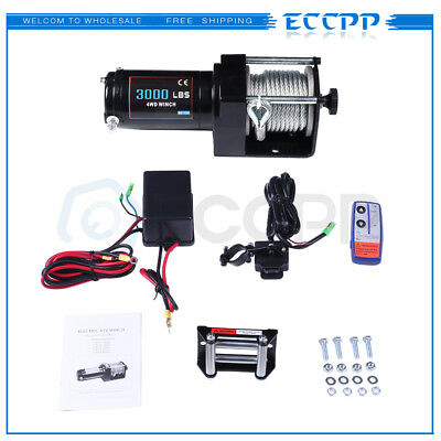ECCPP 3000LBS Electric Winch Towing For 81-18 Jeep 12M Steel Cable Off Road 12V