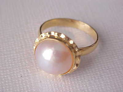 12Mm Aaa Genuine Pinkish White Mabe South Sea Pearl Ring 18K Yellow Gold Sz 6.5