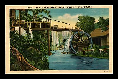 Dr Jim Stamps Us Old Water Wheel Heart Of The Mountains Linen View Postcard