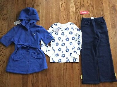 NWT Gymboree Girls 5 5T 6 Daisies Top Pants Jacket Blue Hooded Fleece 3pc Lot