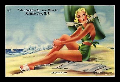 Dr Jim Stamps Us Glamour Girl Atlantic City New Jersey Linen Topical Postcard
