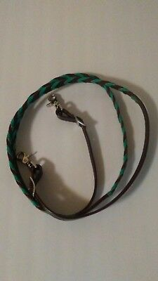 Teal 7 FT Leather Roping Barrel Reins w/ Clips